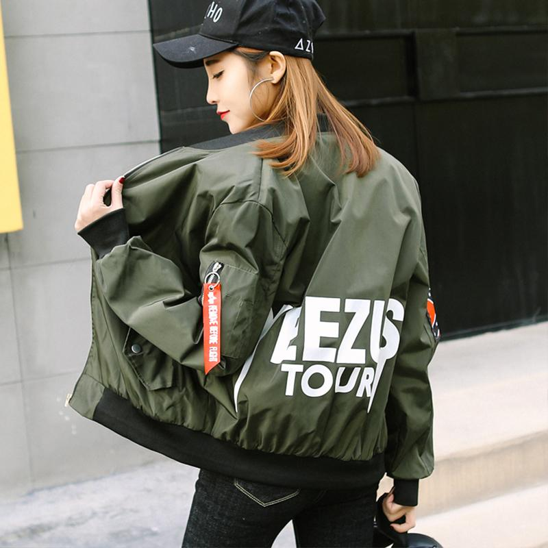2018 Spring Long Sleeves Baseball Jacket Otoño Chaquetas College Harajuku Style Mujeres Bomber Jacket High Quality Outerwear Mujeres