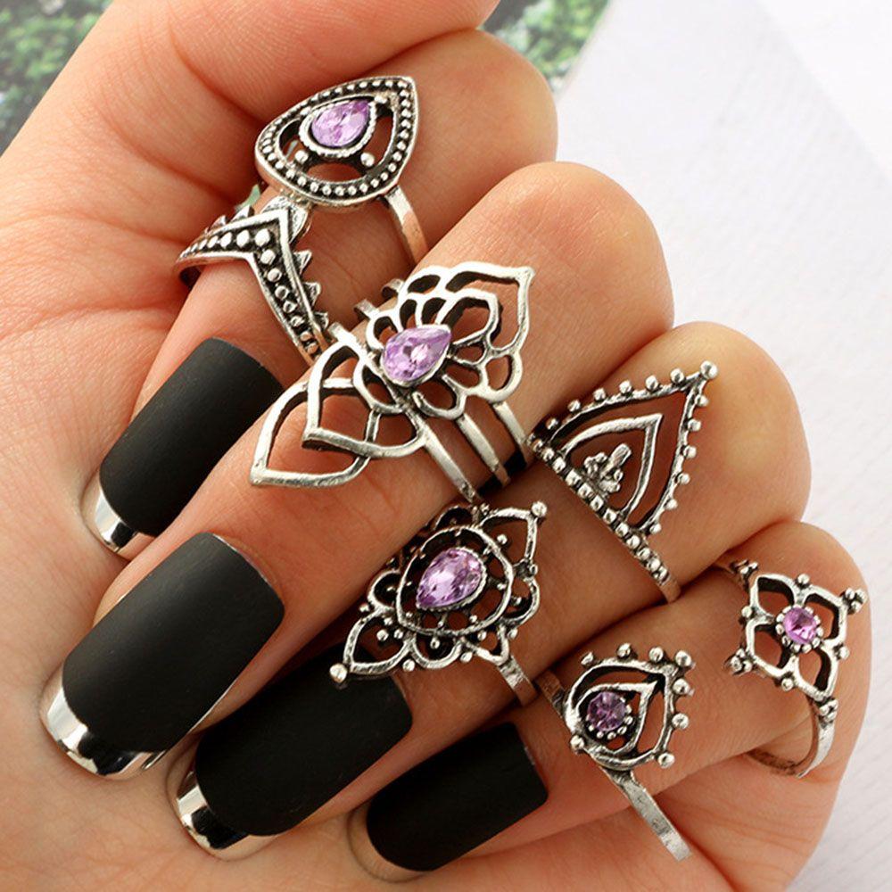 7PCS//Set Boho Silver Vintage Amethyst Crystal Midi Above Knuckle Ring Jewelry
