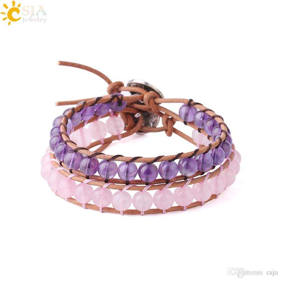 CSJA Women Friendship Bracelets Natural Gemstone Pink Rose Quartz Amethyst Beads Wrap Jewelry Leather Statement Bracelet Boho Jewellery S223