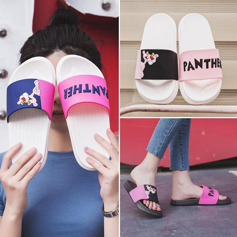 Women summer slippers 2018 fashion Korean casual sandals non-slip home thick bottom soft leather cartoon cute pink leopard word slippers