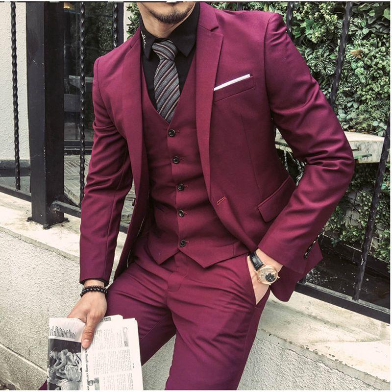 Black Suit Clothing for Men Wedding Suit Slim Fit Groom Tuxedos Burgundy Wine Red Handsome Man Blazer Suit with Jacket+Pants+Vest