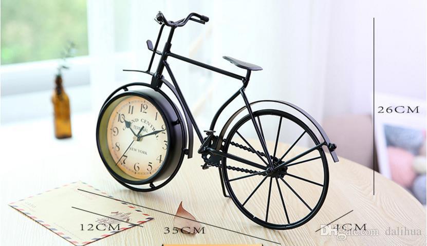 Gros-nouveau fer + verre rétro vintage classique vieux vélo horloge de table horloge cadeau décoration de la maison en métal 360x100x250mm