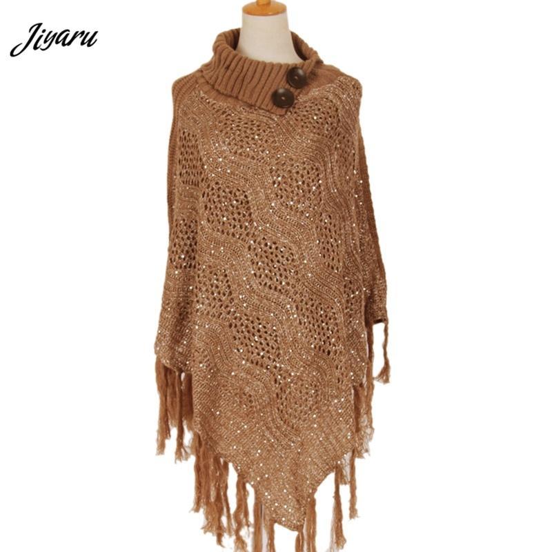 Ladies Casual Poncho Female Loose Shawl Women Fashion Shirts Women Tassel Decorations Poncho Ladies Hallow Out Cloak One Size