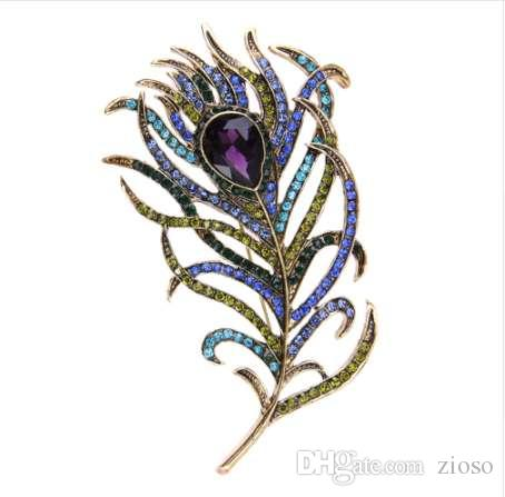 Crystal Peacock Feathers Brooch Boho Enamel Pins Deep Blue 63*107mm Brooches Wedding Accessories 2018 New Arrival