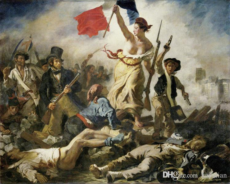 Free Shipping Liberty Leading the People Eugène Delacroix Art Posters Prints Wall Paper Home Decor 16 24 36 47 inches