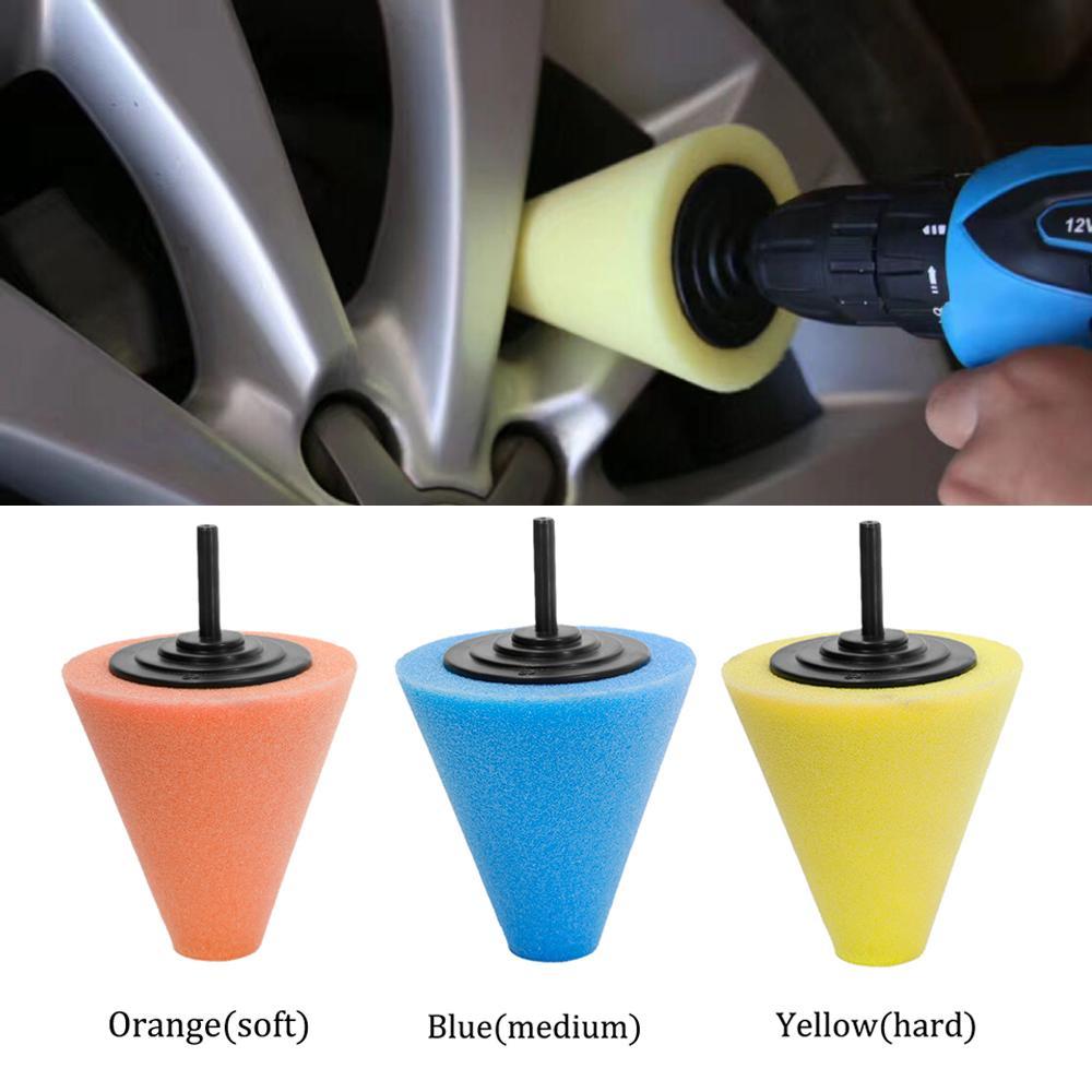 3Pc Burnishing Foam Sponge Polishing Cone Buffing Pads For Car Wheel Hub ToolS