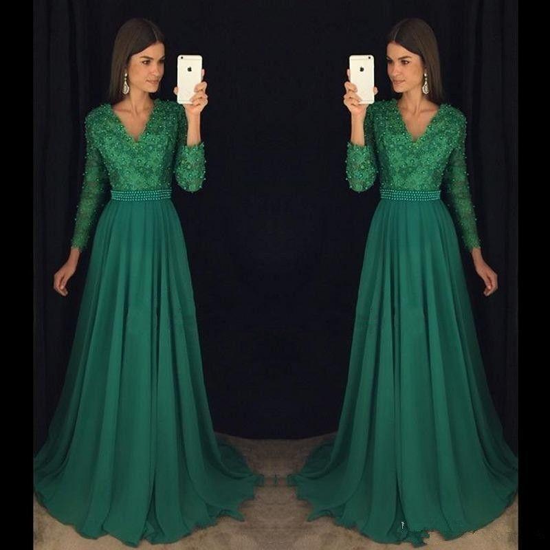 Vestiti Cerimonia Verde Smeraldo.Acquista Abito Da Cerimonia Con Maniche Lunghe In Chiffon Di Pizzo