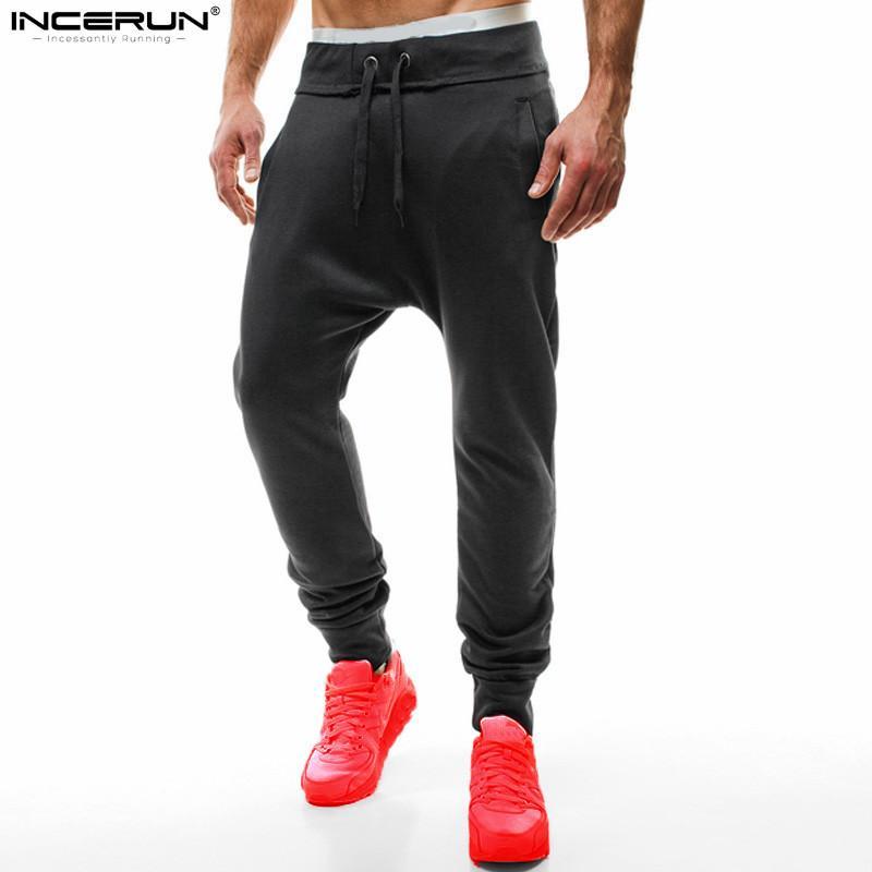 INCERUN 2018 nuovi uomini pantaloni della tuta pianura casual pantaloni felpe pantaloni hip hop pantaloni harem larghi pantaloni larghi allenamento 2XL