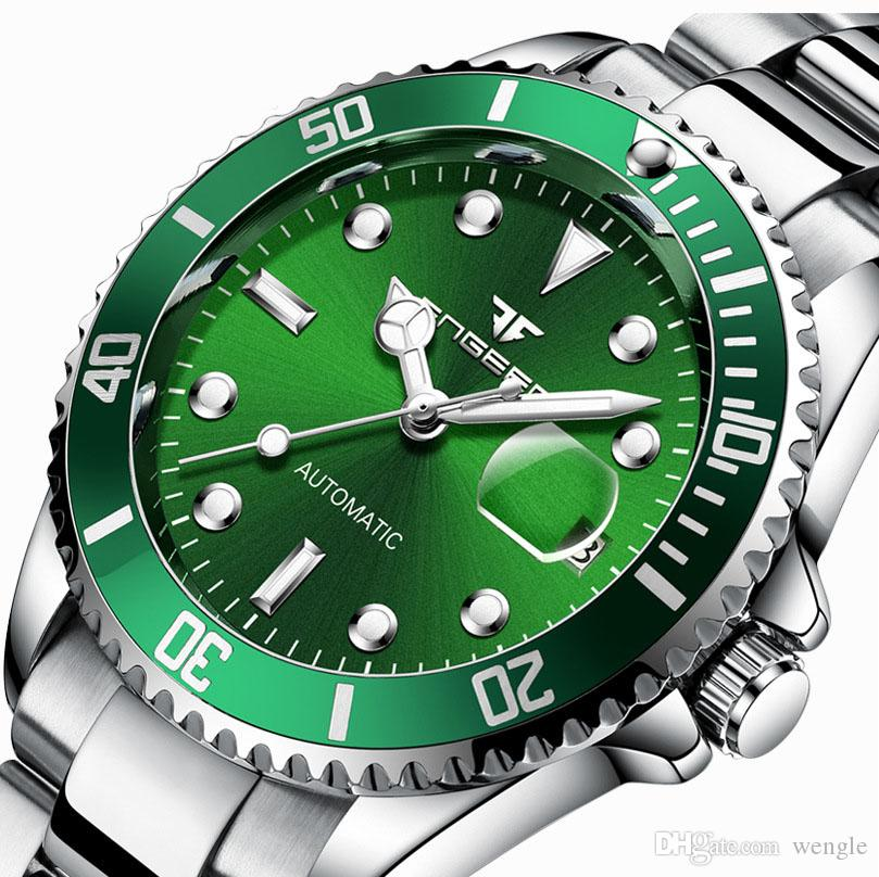 wengle New fashion casual luxury Automatic mechanical waterproof calendar Steel strip canvas British style Coated Glass mechanical watch