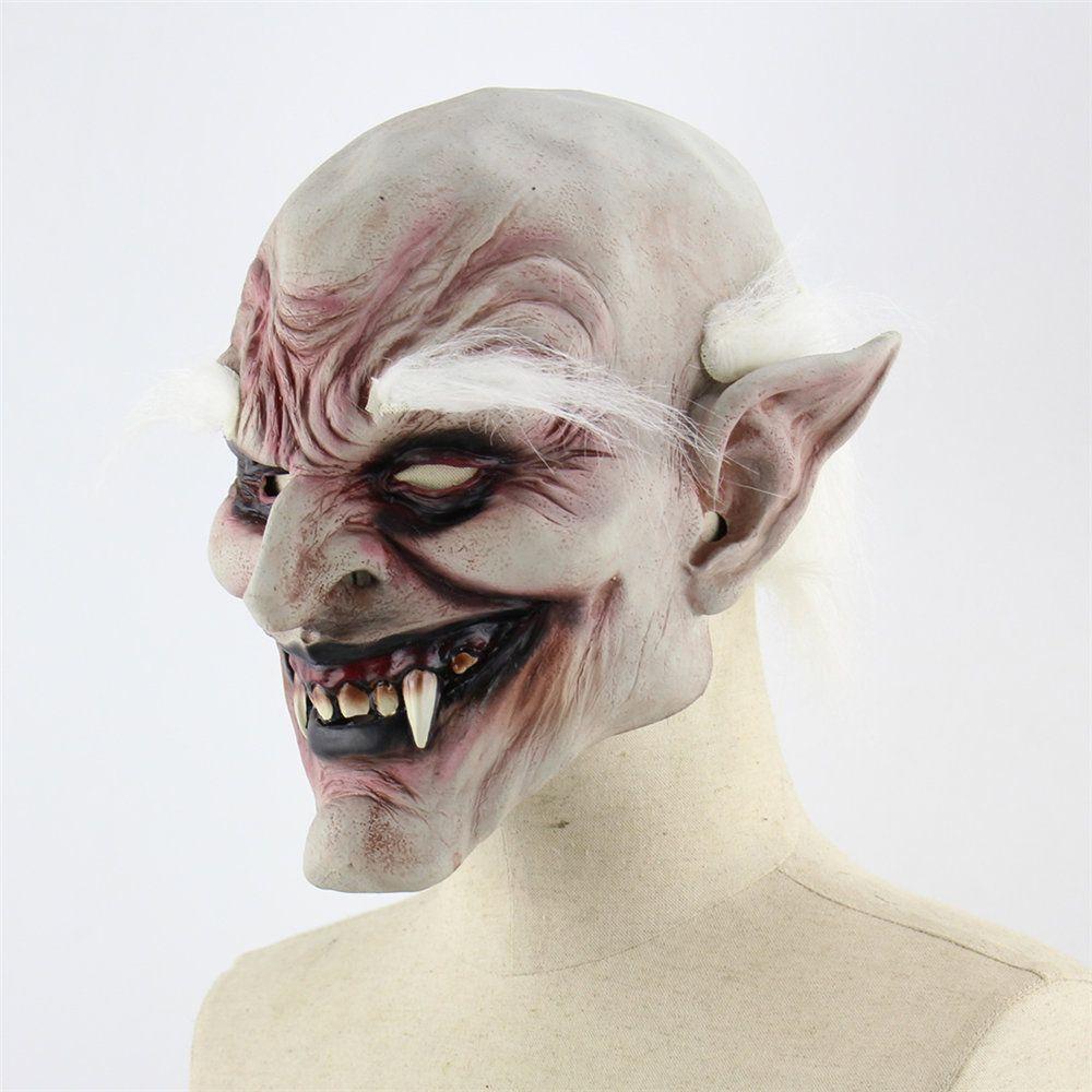 Lateks Hood Make Ups Beyaz kaşlı Demon Cadılar Bayramı Korku Şeytan Vampire Kostüm Aksesuarları Maske% 50 Perili Ev Giydirme Dikmeler