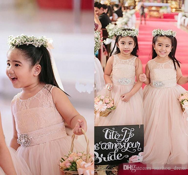 Bonito Blush Rosa Vestidos Da Menina de Flor para Casamentos Longos Cristais de Tule Sash Jewel Até O Chão Meninas Pageant Vestido de Aniversário Dos Miúdos Vestidos