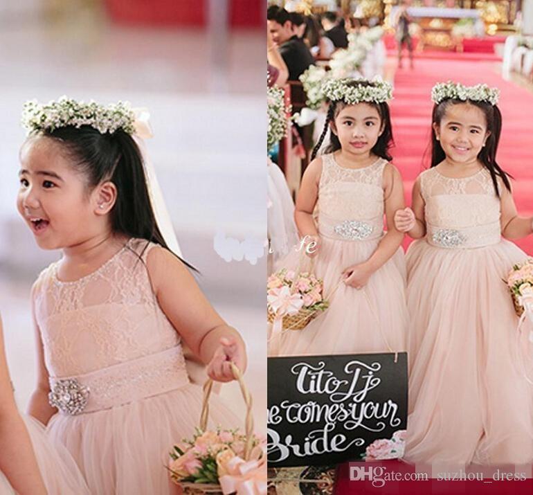 Cute Blush Pink Flower Girl Dresses per Matrimoni Lunghi cristalli di tulle Sash Jewel Piano Lunghezza Girls Pageant Dress Bambini Abiti di compleanno