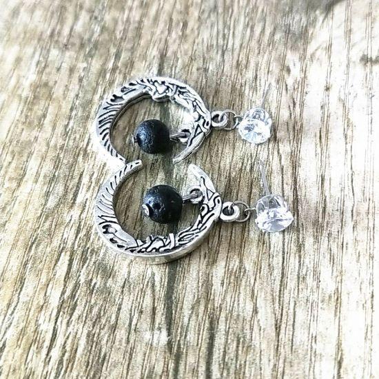 Черный вулканический камень Длинные кисточкой Луны серьги ожерелье DIY Ароматерапия Эфирное масло Диффузор мотаться серьги ювелирные изделия женщин