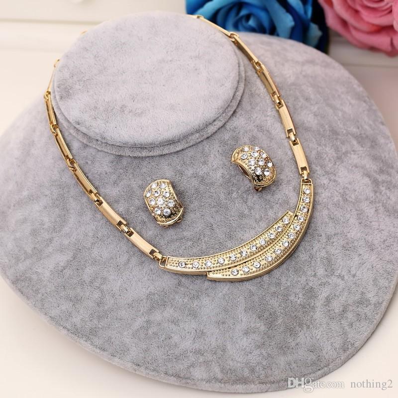 Sistemas de la joyería de oro de moda nigeriano boda perlas africanas de cristal nupcial conjunto de joyas de diamantes de imitación etíope joyería parure