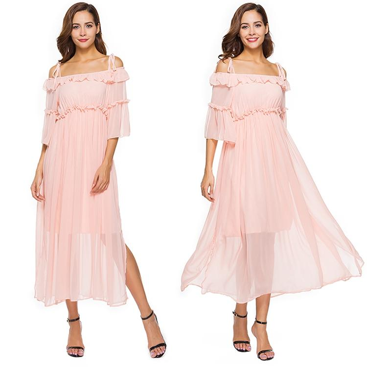 Date Dress with Off The Shoulder Flare Sleeve Ruffule Trim Split Fashion Design Sweet Pink Beach Casual Engagement Summer Dresses for Women