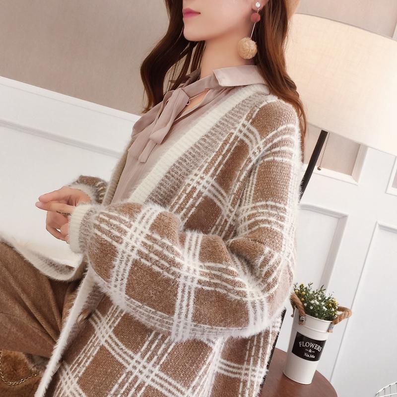 Autumn Winter Sweater Knitted Cardigan Batwing Sleeve Plaid Casaco Feminino Streetwear Outwear Harajuku Overcoat Cardigan Women