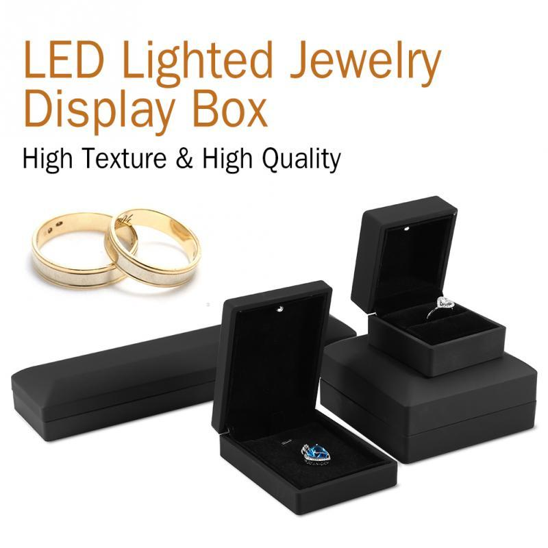 LED Lighted Jewelry Box Ring/Pendant/Bracelet/Necklace Jewelry Display Case Gift Storage Box 4Types Wedding Engagement Ring