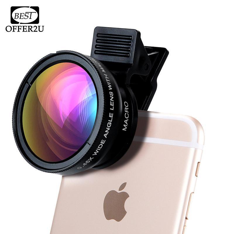 عدسات كاميرا احترافية عالية الدقة للهاتف 0.45X ، عدسة ماكرو بزاوية عريضة 12.5X مع مقاطع 2in1 ، طقم آيفون 4 4s 5 5s 5c SE 6 6s 7 Plus