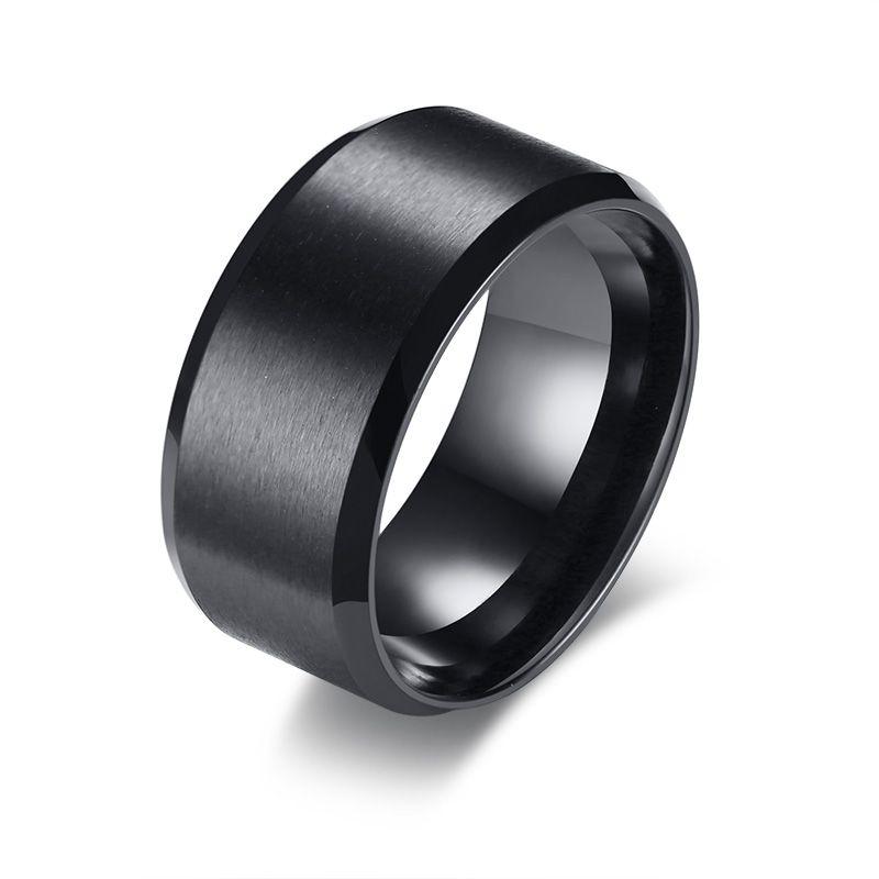 Free Custom Engraving 10mm Beveled Edges Black Matt Finish Wedding Band Rings in Stainless Steel