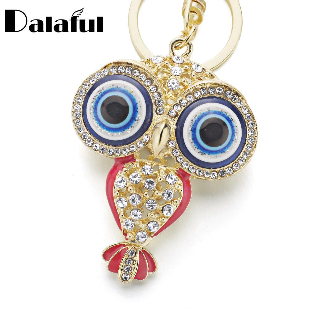 New Fashion Big Porcelain Eyes Owl Rhinestone Crystal Keyrings Keychains Pendant Purse Bag Buckle key chains holder for women K190