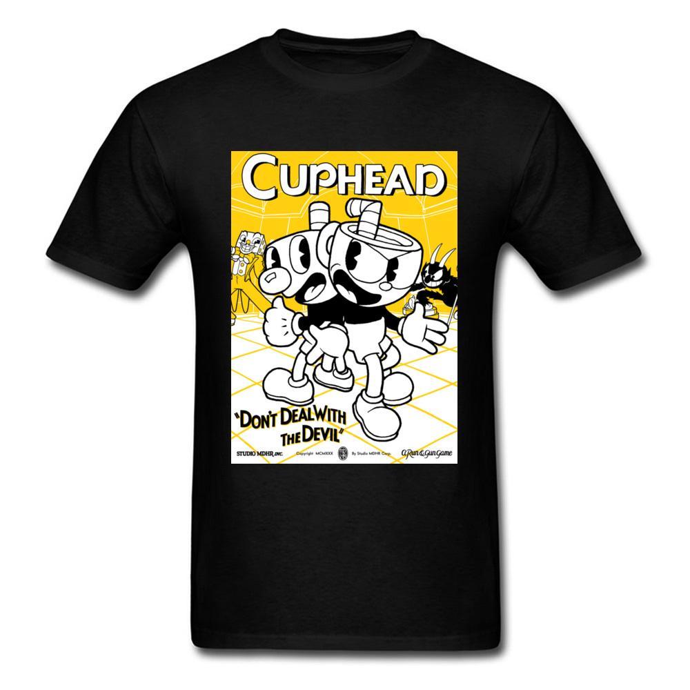 Großhandelsdoppeltes Problem-Comic-Spiel-Oberseiten-T-Shirts mit Rundhalsausschnitt 100% Baumwollmänner Oberseiten-T-Shirt Cuphead Sommer-Party-T-Shirts