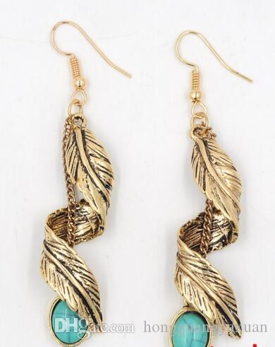Elvish 패션 고대 인기있는 귀걸이 제조 업체 합금 도금 고대 실버 터키석 펜던트 과장된 귀걸이 단풍