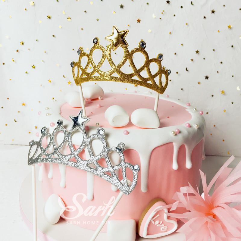Incredible Bling Golden Silver Diamond Crown Stars Cake Topper For Birthday Personalised Birthday Cards Veneteletsinfo
