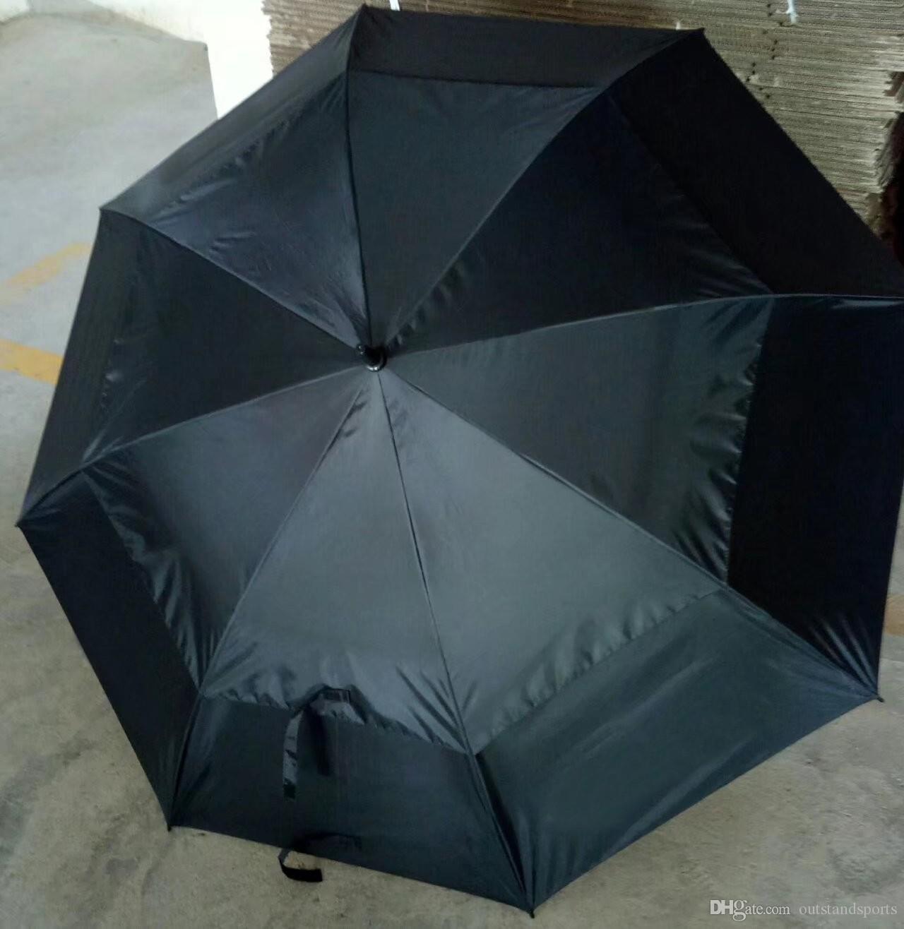 freies Verschiffen (100pcs / lot) zwei Schichten anti UVA reine Farbe Grip Regenschirm Großhandel frei automatische OEM Golfdachmarke gewählt