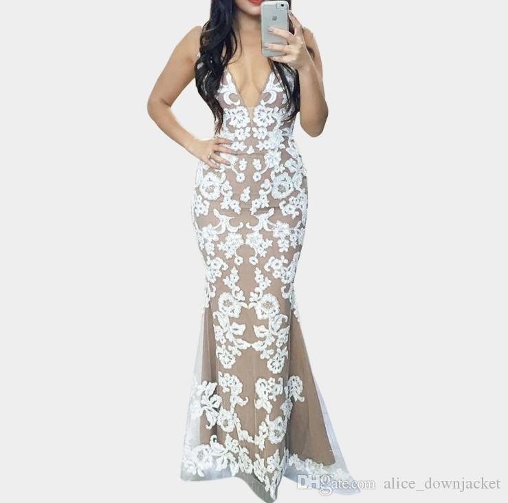 New Arrival White Wedding Party Dresses Sexy Embroidery Floor-Length Celebrity Maxi Dresses Strap Women Summer Long Dress