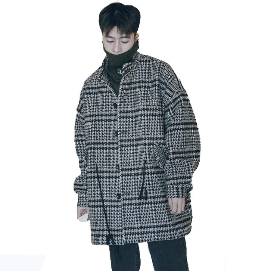 Korean Wool Coat Men Plaid Lattice Male Overcoat Vintage Winter Long Jacket Men Oversized Check Peacoat Mens Coats And Jackets