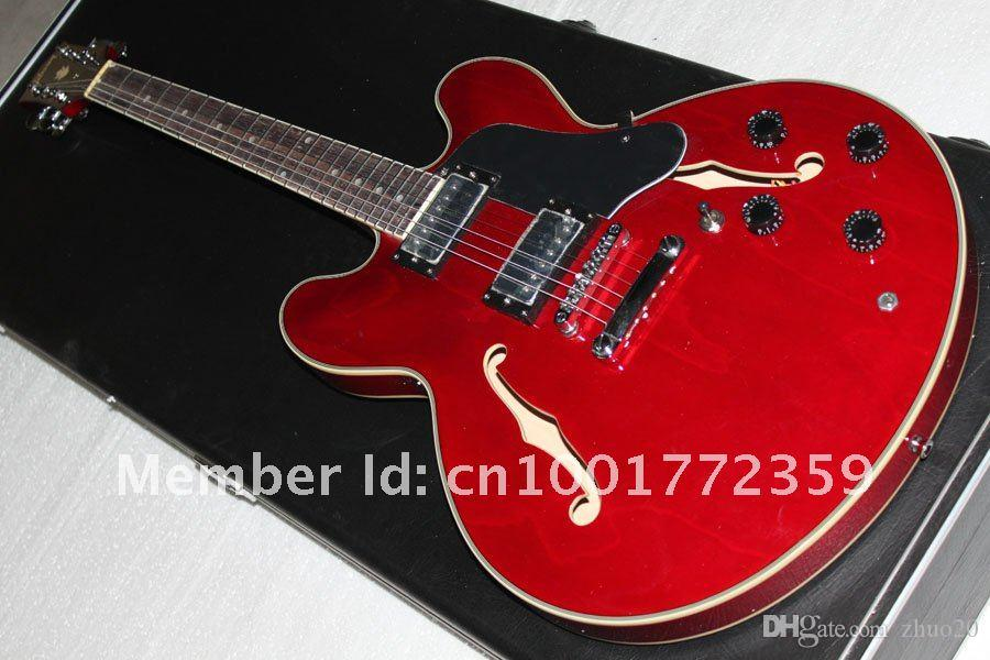 Custom Shop 335 Reissue Figured electric guitar, Gloss Cherry guitar- Free Shiping