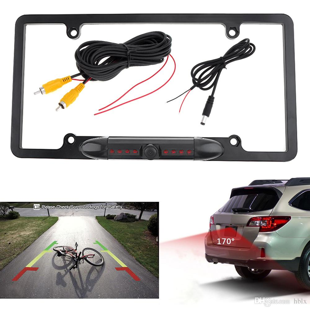 License Plate Rear View Backup Camera Reverse Parking Back Camera 8 IR LED Night Vision Waterproof 170/° Viewing Angle Universal Car License Plate Frame Mount for Cars Easy to Install