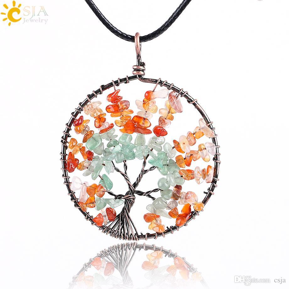 CSJA Women Natural Stone Necklaces Chakra Gemstone Amethyst Aquamarine Wisdom Tree of Life Quartz Chips Pendant Necklace Multicolor E767 B