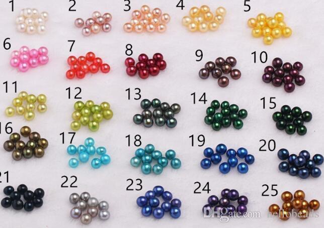 20 Color de la mezcla natural de Ronda ostra perla de 6-7m m grande de agua dulce del regalo DIY de la perla natural suelta bolas Adornos de vacío al por mayor del embalaje