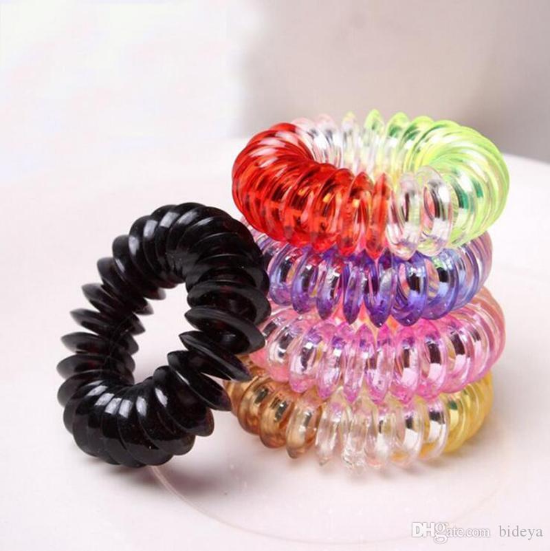 Großhandel 100 Stücke Candy Telefonkabel Haarschmuck Mädchen Gummi Elastische Ring Seil Kunststoff Seil Haarschmuck