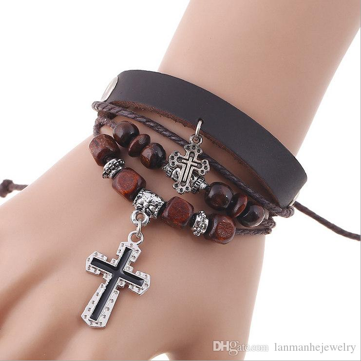 Vintage Bracelets Jewelry Fashion Punk Wood Beads Alloy Crosses Leather Rope Knitted Charm Bracelets Wholesale Free Shipping BR456