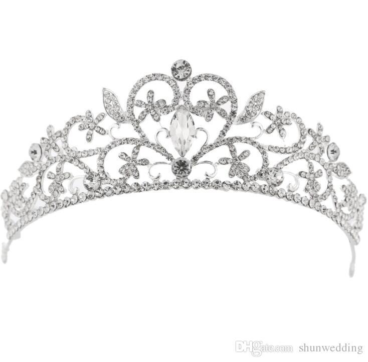 심장 모양의 크리스탈 신부의 결혼식 Tiaras 크라운 라인 석 미인 대회 신부 웨딩 헤어 액세서리 머리띠 고품질