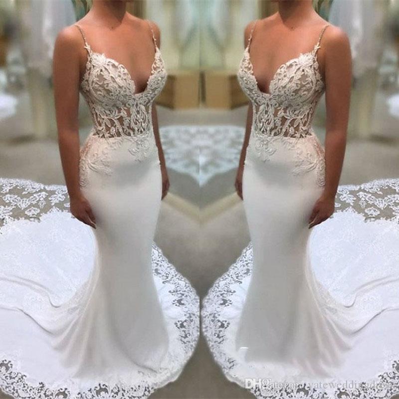 Blancos vestidos de novia de espagueti atractivas con mangas apliques 3D Vestidos de novia sirena trasera de la cremallera del cordón del tren de barrido por encargo Vestidos