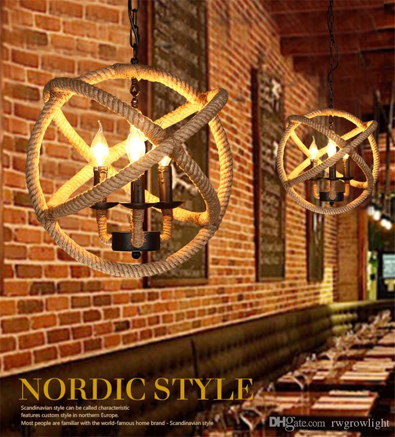 Loft lámpara colgante viento industrial de interior de la iluminación americana Nordic oficina café tienda de ropa cuerda bola led araña