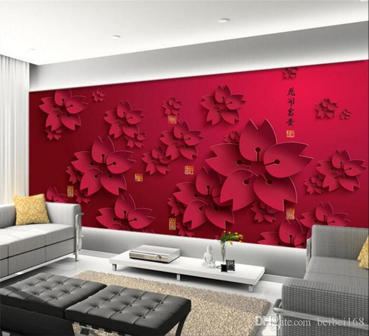 3d Wallpaper Hd Red Flower Photo Mural Living Room Home Decor Wall Paper Papel De Parede Abstract Floral Wallpaper Bollywood Actress Wallpapers