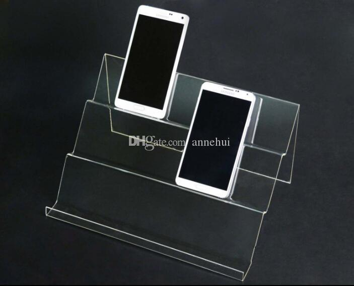 5pcs Long Shelf Acrylic Mobile Cell Phone display stand digital products purse Cosmetic holder Universal Mobile Phones display rack