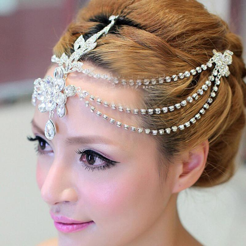 Clear crystal dangle forehead headband tiara crown bridal pageant prom headpieces wedding teardrop hair jewelry accessories 1pc S919