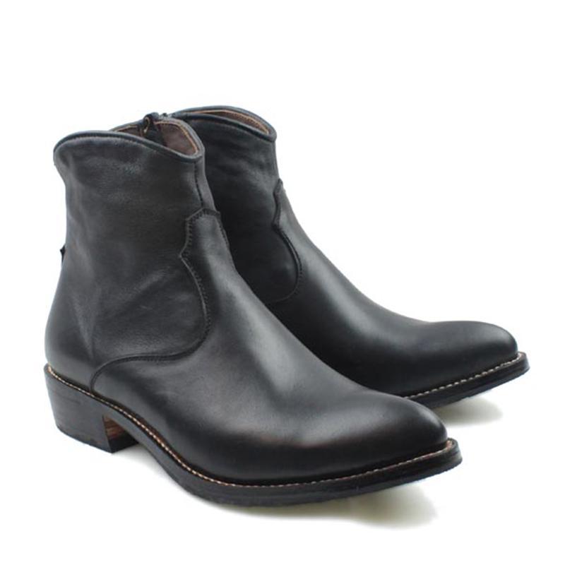Botas hechas a mano de los hombres de piel de vaca negro cuero genuino botas cortas hombres vaquero Motocycle Botas Hombre Zip, EU38-45