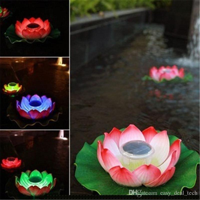 Solar Power LED Lotus luce galleggiante Flower Lamp Solar Pond Garden Yard Pool Nightlight Lampada Decor illuminazione Q0749