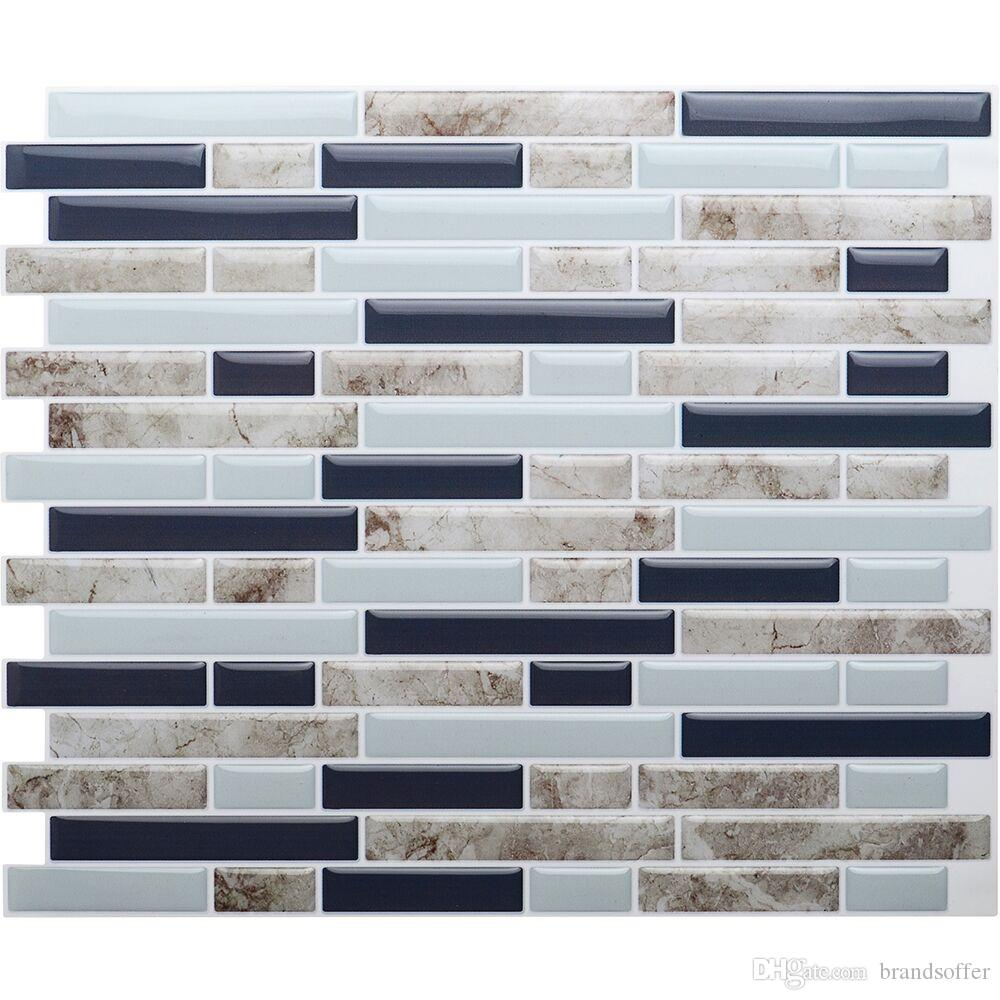 "Self Adhesive 3D Wall Tile Peel and Stick Mosaic Tile DIY Kitchen Bathroom Home Decor 10.5""x10"" , Pack of 4 pieces"