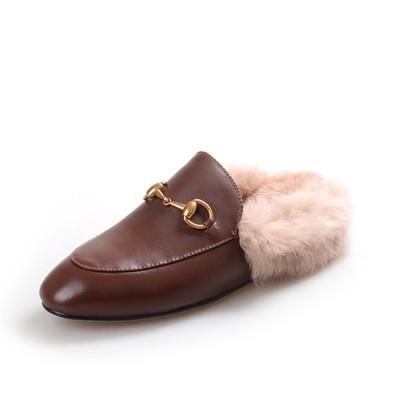 sports shoes details for hot sales Big Size!Ladies Luxury Fur Mule Slippers Leather Flat Suede Shoes Flower  Snake Mule Fashion Outdoor Slippers Fall And Winter Shoes66 Shoe Shops  Brown ...