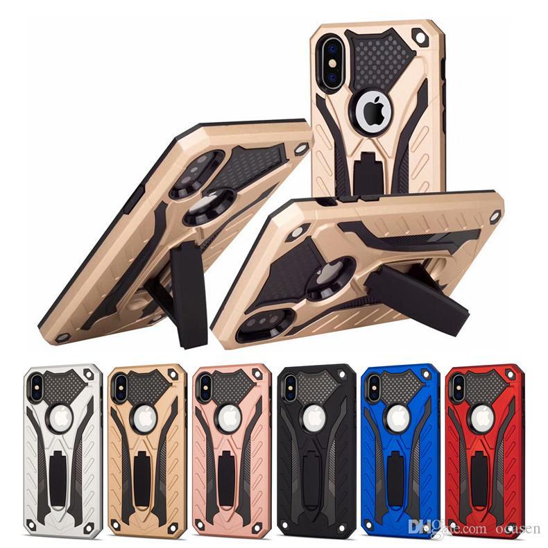 Hybrid pc tpu schwere defender rüstung ständer halter stehen case für iphone xr xs max 6s 7 8 plus samsung note9