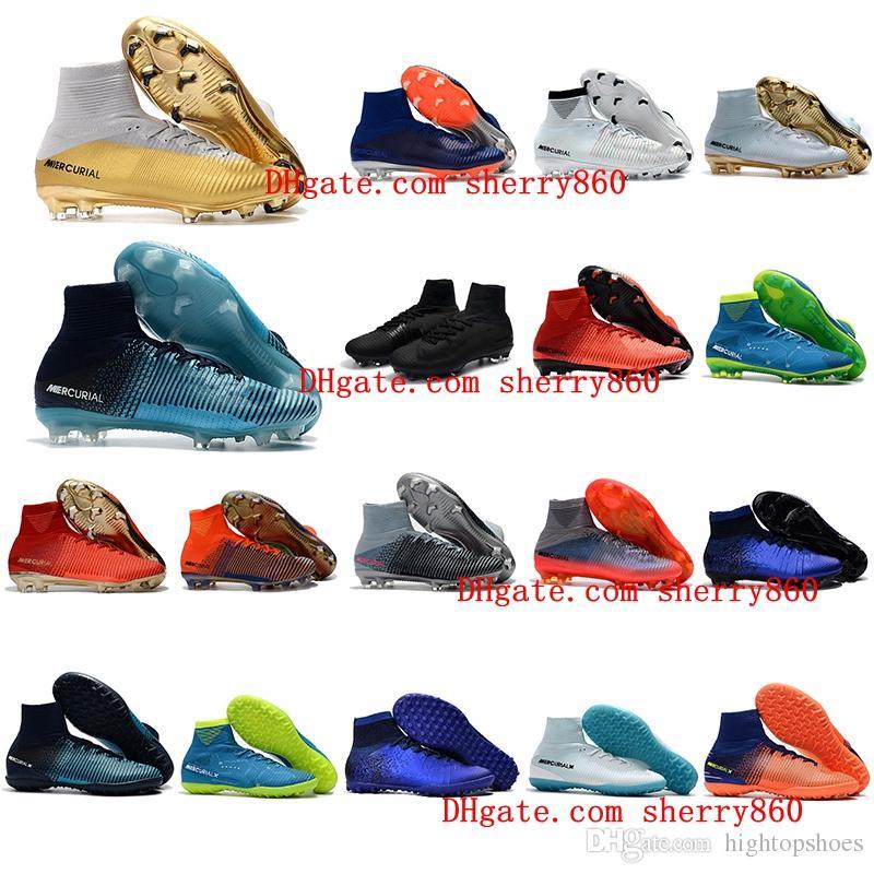 2018 botines de fútbol para hombre Mercurial Superfly V Ronalro FG zapatos de fútbol para niños botas de fútbol cr7 niños botas neymar Rising Fast Pack barato