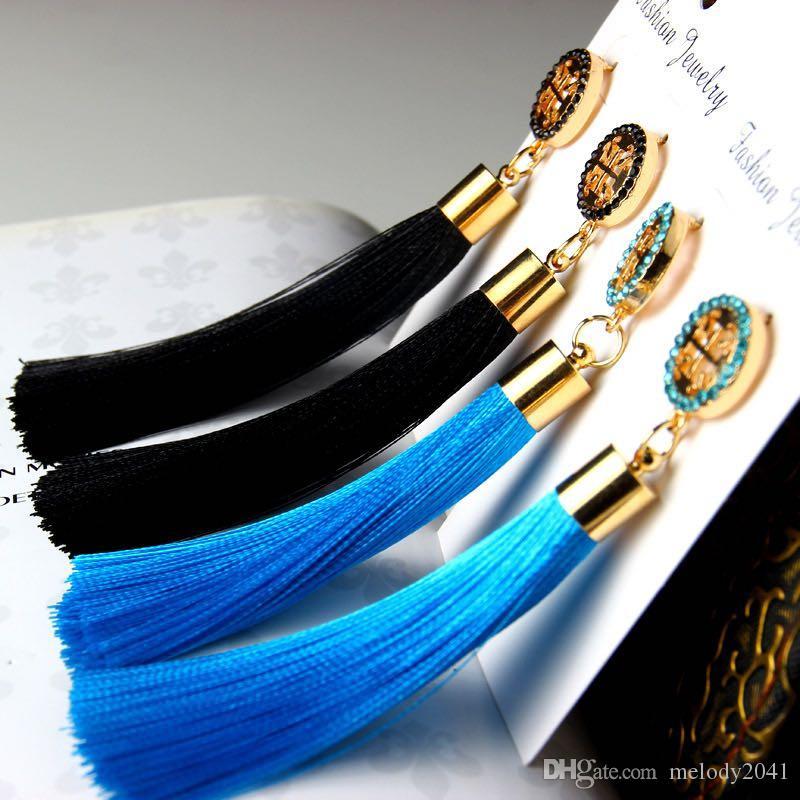 Moda artesanal largo borlas coloridas Pendientes con flecos Pendientes incrustaciones de diamantes de imitación de seda con flecos Pendiente de gota de joyería 9 colores