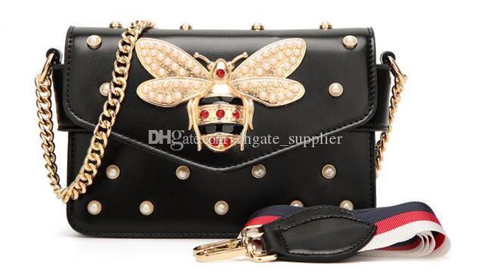 Драгоценный камень пчелы женщины сумка кулон леди натуральная кожа сумка Роскошные сумки женщины сумки дизайнер старинные лоскут сумка сумки